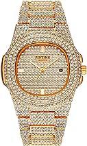 Unisex Luxury Full Diamond Watches Silver/Gold Fashion Quartz Analog Stainless Steel Band Bracelet Wrist Watch