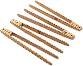 BOBZYXL Bamboo Toaster Tongs Set, 9.5-Inch, Natural Bamboo Kitchen Tongs 4-piece