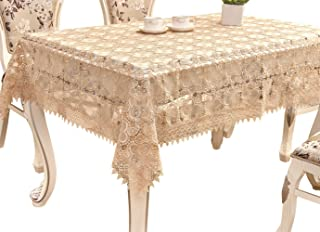 Adasmile Lace Tablecloth Rectangle Handmade Crocheted Table Cover with Flowers for Rectangle Tables Party Wedding Light Brown 60
