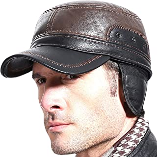 Sumolux Winter Leather Cap with Earflap Military Cadet Army Flat Top Hat Outdoor