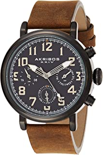 Akribos XXIV Men's Multifunction Antique Watch - 3 Subdials 24 Hour, Date, Day Large Arabic Numeral - On Comfortable Leather Strap - AK1028