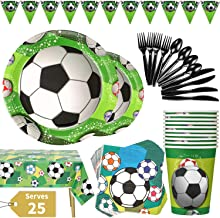 Duocute Soccer Party Supplies 177PCS Sports Theme Children Birthday Disposable Dinnerware Set Includes Plates, Cups, Napkins, Spoons, Forks, Knives, Tablecloth and Banner, Serves 25