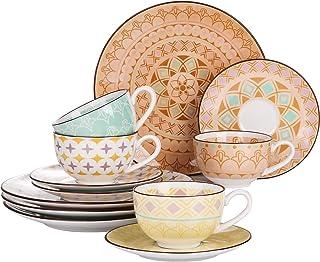 vancasso, Série Tulip, Service à Café en Porcelaine pour 4 Personnes, Tasse 300ml avec Soucoupe, Assiette à Dessert, Style...