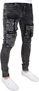 526Jeanswear Men's Stretch Super Skinny Fit Ripped Tapered Leg Jeans