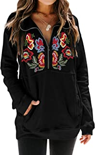 Women's Floral Embroidery Shirt Drawstring Half Zip Up Long Sleeve Pullover Sweatshirt Top with Pockets