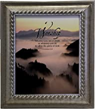 VERSERIES - Worship Picture Frame - Christian Gift and Art - Canvas Photo Frame - Bible Verse Gift - Choose Your Design (Rustic Silver Frame, Set of 1)