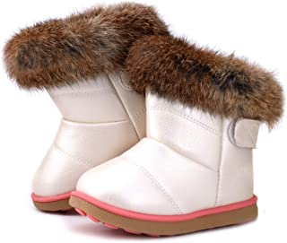 LONSOEN Toddler Girls Boots Fur Lined Winter Boots Shoes