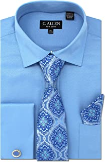 Men's Solid Micro Pattern Regular Fit Dress Shirts with Tie Hanky Cufflinks Combo French Cuffs
