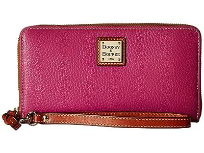 Dooney & Bourke Pebble Leather Large Zip Around Wristlet (Magenta/Tan Trim) Wristlet Handbags