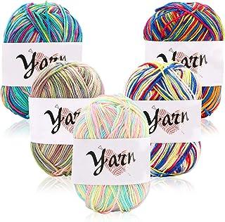 Pelotes de laine et fils Lot de 5 gros bonbons de fil de 50 g à tricoter et à tricoter Kit de démarrage de fils multicolor...