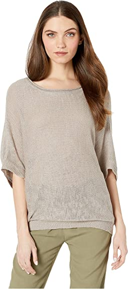 Opaline Linen Blend Short Sleeve Cocoon Pullover Sweater