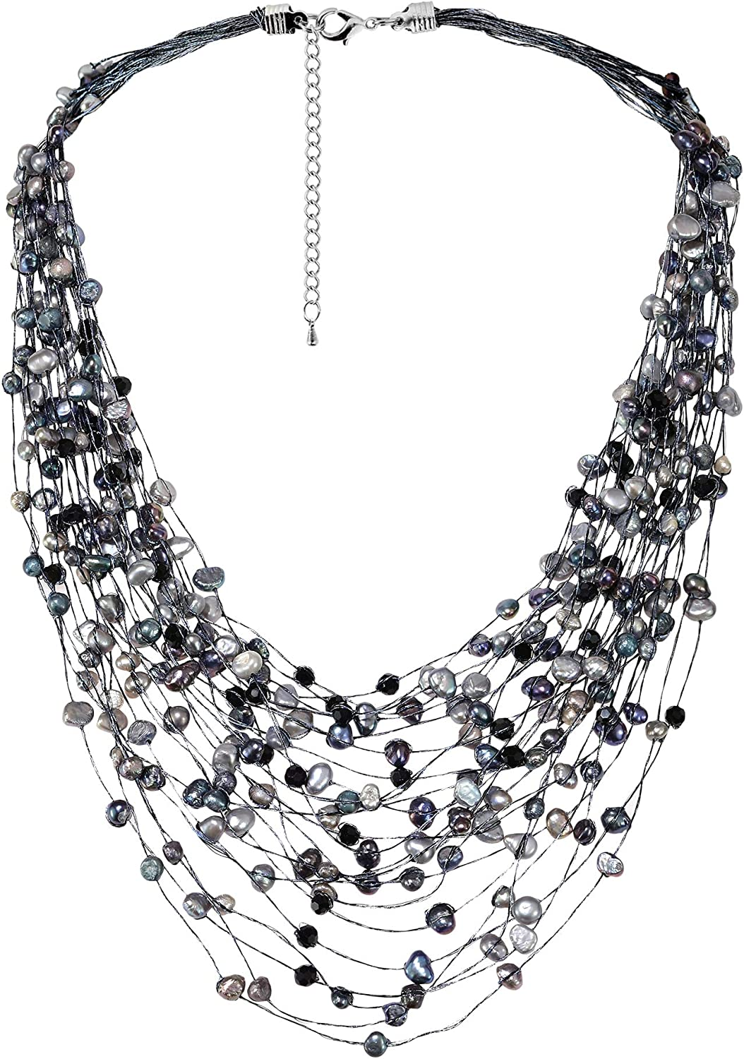 Cultured Freshwater Pearl & Fashion Crystal Silk Layered Multi Strand Necklace
