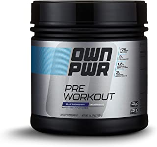 OWN PWR Pre Workout Powder, Blue Raspberry, 30 Servings, Keto Friendly, 3G Creatine, 1.6G Beta Alanine (as CarnoSyn), 175 MG Caffeine & more