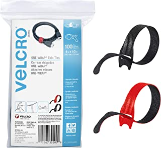 """VELCRO Brand Cable Ties, 100Pk - 8 x 1/2"""" Red and Black, Reusable Alternative to Zip Ties, ONE-WRAP Thin Pre-Cut Cord Orga..."""
