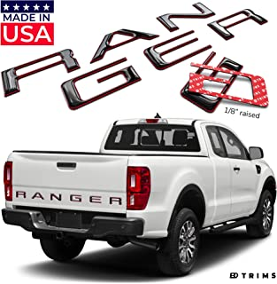 BDTrims Tailgate Domed 3D Raised Letters Compatible with 2019 2020 Ranger Models (Black with Red Outline)