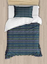 VROSELV-HOME Vintage Stripe Duvet Cover Set Twin Size,Abstract Repetition with Scribble Zigzags Drops and Spots,Kids Bedding-Does Not Shrink Or Wrinkle,Night Blue Mustard and Blush