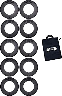 USA Made Micro Gainz Olympic Fractional Weight Plate Set of .25LB-.50LB-.75LB-1LB-1.25LB Plates(10 Plate Set)-Designed for Olympic Barbells, Used for Strength Training & Micro Loading w/Carrying Bag