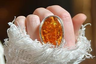 MJ Baltica anello Argento 925 e Ambra Naturale regolabile grande colore unico artigianale BP041
