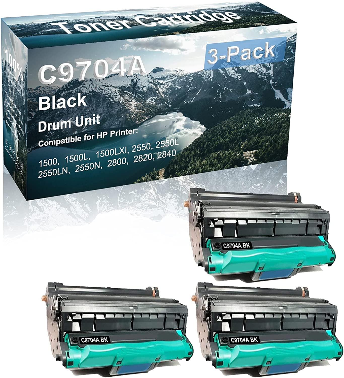 3-Pack Compatible C9704A Drum Kit use for HP 1500 1500L 1500LXI Printer (Black)