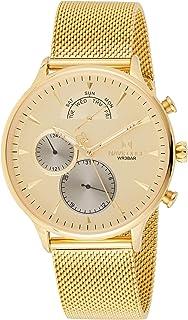 ساعة انالوج كلاسيكية بمينا ذهبي وسوار شبكي من الستانلس ستيل للرجال من نافي فورس - NF3010-GG
