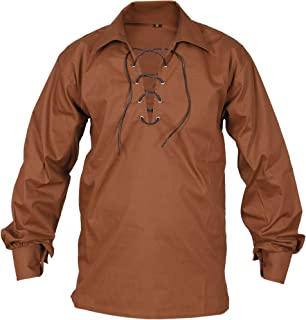 Brown Jecobite Traditional Ghillie Kilt Shirt