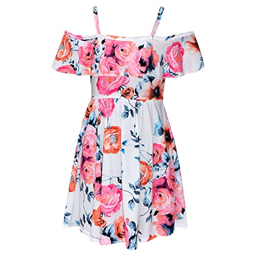 5c9f1d79334581 A2Z 4 Kids® Girls Skater Dress Kids Floral Print Summer Party Off Shoulder  Dresses New