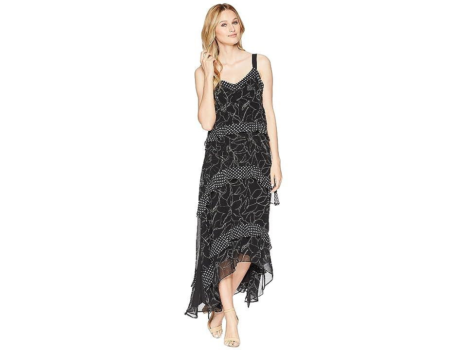 Taylor Tiered Chiffon Mix Print Maxi Dress (Black/Ivory) Women