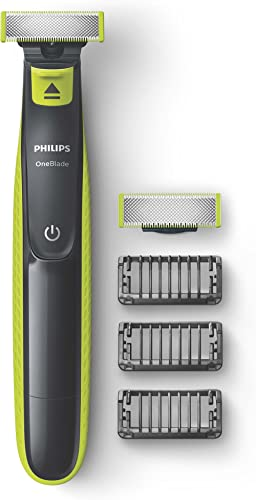 Philips One Blade Rechargeable Wet and Dry Electric Shaver for Trim, Edge and Shave with 3x Click-on Stubble Combs, B...