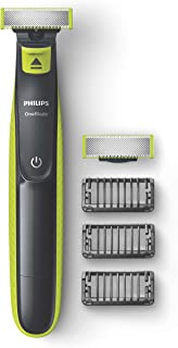 Philips One Blade Rechargeable Wet and Dry Electric Shaver for Trim, Edge and Shave with 3x Click-on Stubble Combs, Black/...