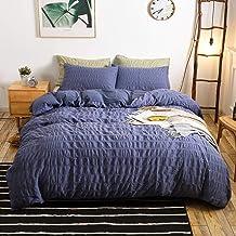 طقم غطاء لحاف أزرق مكون من 3 قطع من إم آند ميجل بسحاب إغلاق، مصنوع من نسيج القطن المغسول بنسبة 100%، أغطية سرير فاخرة بجود...