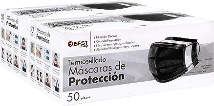 Best Trading Cubrebocas, Tapabocas Negro Termosellado con 3 Capas de Protección, Mascarilla Desechable (100 Piezas)