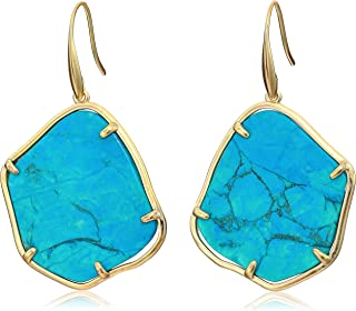 Lucky Brand Turquoise Stone Drop Earrings, Gold