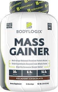 Bodylogix Mass Gainer Protein Powder, NSF Certified, Decadent Chocolate, 5 lb