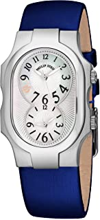 Signature Small Womens Dual Time Watch - Mother of Pearl Face with Luminous Hands Natural Frequency Technology - Stainless Steel Blue Leather Band Analog Quartz Ladies Watch 1-NFMOP-INBL