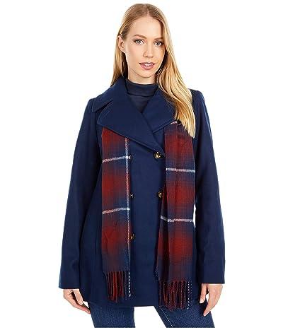 London Fog Double Breasted Short Wool Coat w/ Scarf (Sapphire) Women