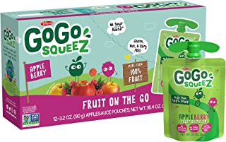 GoGo squeeZ Applesauce on the Go, Apple Berry, 3.2 Ounce (12 Pouches), Gluten Free, Vegan Friendly, Unsweetened Applesauce, Recloseable, BPA Free Pouches (Packaging May Vary)