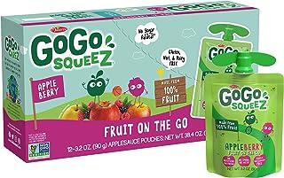 GoGo squeeZ Applesauce, Apple Berry, 3.2 Ounce (12 Pouches), Gluten Free, Vegan Friendly, Unsweetened Applesauce, Reclosea...