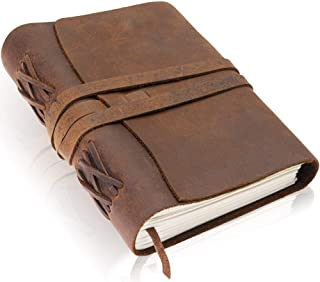 Premium Handmade Leather Journal by Scriveiner London – 7x5 Inch Unlined Leather Bound Daily Writing Notebooks & Journals to Write in for Men & Women, Cotton Paper Antique Travel Diary, Perfect Gift photo