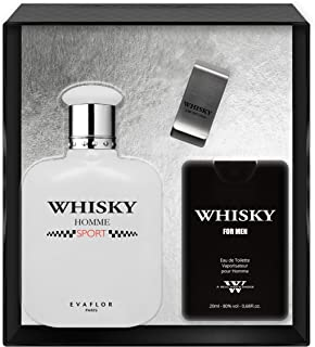 Evaflorparis Whisky Sport Gift Box Eau de Toilette 100 Ml + Travel Perfume 20 Ml + Money Clip Set Perfume Spray Men Perfum...