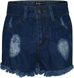 Kids Girls Shorts Mid Blue Denim Bermuda Skinny Ripped Jeans Summer Chino Short