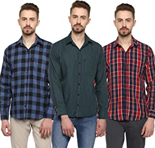 LEVIZO 100% Cotton Casual Classic fit Full Sleeves Shirt for Men (Pack of 3)
