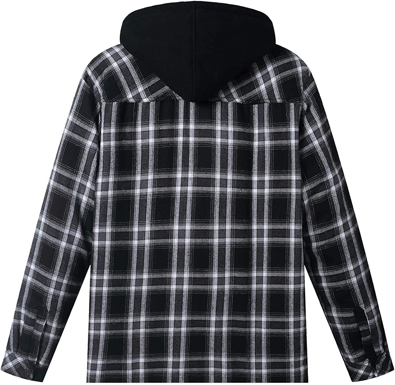 WenVen Men's Thicken Plaid Flannel Quilted Shirts Jacket with Removable Hood