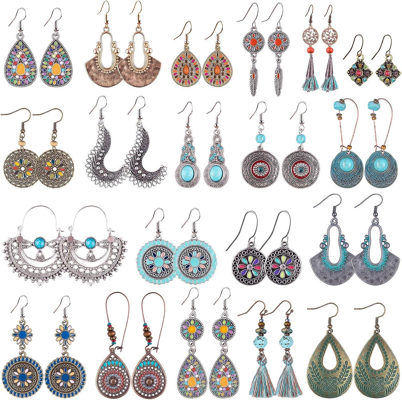 Duufin 20 Pairs Bohemian Vintage Drop Dangle Earrings Boho Earrings Set Statement Earrings National Style Alloy Long Boho Dangle Earrings for Women Girls