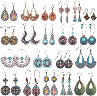 Duufin 20 Pairs Bohemian Vintage Drop Dangle Earrings Boho Earrings Set Statement Earrings National Style Alloy Long Boho ...