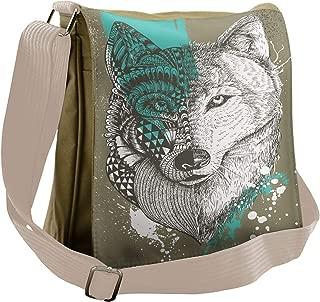 Lunarable Wolf Messenger Bag, Zentangle Wolf Paint Splatters, Unisex Cross-body