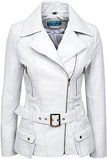 Smart Range Feminine' Ladies White Napa Biker Style Designer Real Leather Jacket