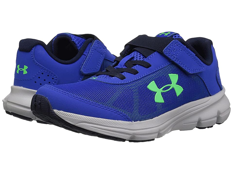 Under Armour Kids UA BPS Rave 2 AC (Little Kid) (Team Royal/Aluminum/Arena Green) Boys Shoes, Blue