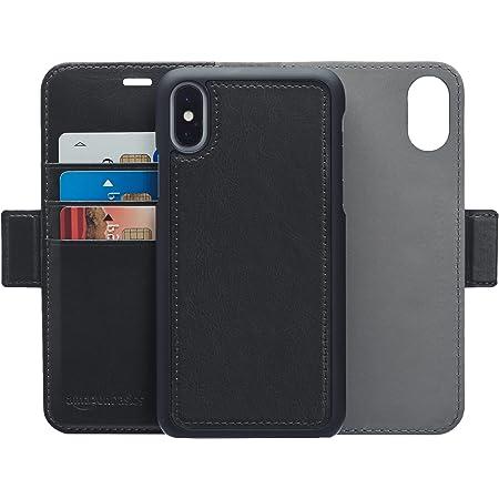 AmazonBasics iPhone X 手機殼 可拆卸自由皮革錢包一體型手機殼 黑色