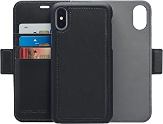 AmazonBasics iPhone X PU Leather Wallet Detachable Mobile Cover, Black