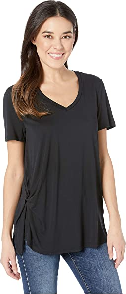 Light Jersey Knit Short Sleeve Top w/ Pleat Detail